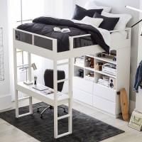 Широкая кровать-чердак со стеллажом и столом Боуэн Лофт