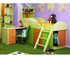 Комбіноване ліжко-горище Фрутіс з полицями, ящиками та столом
