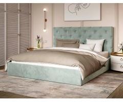 Двуспальная кровать с мягкой спинкой Велюр