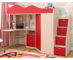 Верхнє ліжко з кутовим столом та шафою КЧО-135