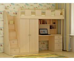 Оригінальне ліжко з верхнім спальним місцем та шафою КЧО-140