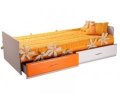 Одноярусная кровать с ящиками Пионер МДФ
