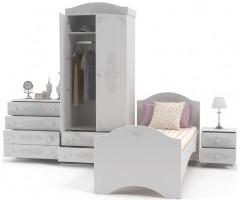 Набор из 4 элементов - шкаф, кровать, комод и тумба, Ассоль