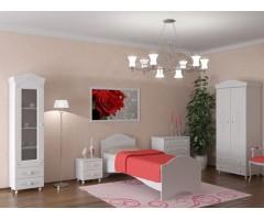 Набор из 5 элементов - шкаф, кровать, пенал-витрина, комод и тумба, Ассоль