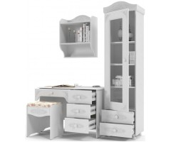 Набор из 4 элементов - стол, пенал-витрина, полка и пуф, Ассоль