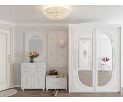 Набор из 5 элементов - шкаф с зеркалом, комод, пуф-тумба и вешалка, Ассоль