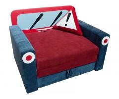 Розкладний синій дитячий диванчик з підлокітниками Фантазія Авто 01M023