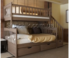 Двоярусне тримісне ліжко з драбиною-комодом Альбінос