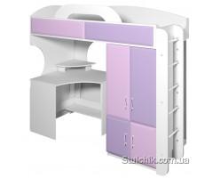 Кровать-чердак со столом и шкафом Пионер