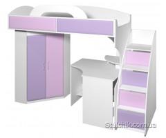 Кровать-чердак со шкафом и рабочим местом Пионер