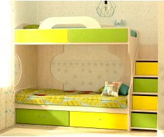 Двухъярусная кровать с лестницей-комодом Дори Лайм