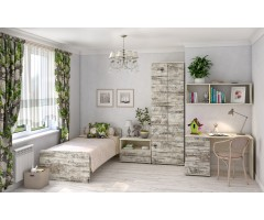Комната подростковая со шкафом и столом Арт Кантри набор из 5 элементов