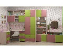Набір меблів зі столом і стінкою Дорі Пінк з 8 предметів