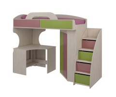 Кровать-чердак со шкафом и столом Дори Пинк