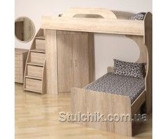 Двухъярусная кровать с комодом лестницей Фреш