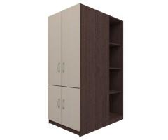 Платяной низкий шкаф со стеллажами Квест-С