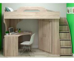 Кровать-чердак с рабочим местом и шкафом Квест XS-1