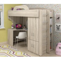 Подростковая кровать чердак со шкафом и столом Квест XS-2