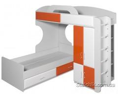 Двоярусне ліжко із шафою Піонер варіант 5