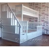 Двухъярусная кровать с лестницей-комодом Сонет