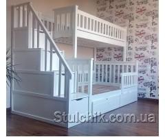 Кровать двухъярусная с лестницей-комодом Сон