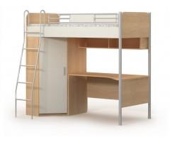 Кровать-чердак подростковая с угловым шкафом и столом Mega