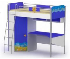 Двухъярусная кровать с рабочей зоной и шкафом Океан