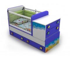 Кровать-трансформер детская от 0 до 12 лет со столиком и комодом Ocean