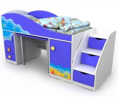 Кровать-чердак с выдвижным столом Ocean
