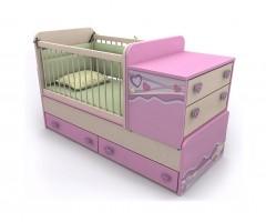 Детская кровать-трансформер от 0 до 12 лет со столиком и комодом Pink