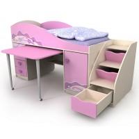 Дитяче ліжко-гірка з комодом-сходами для дівчинки Pink