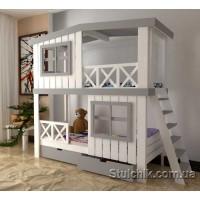 Кровать-домик двухярусная Монблан