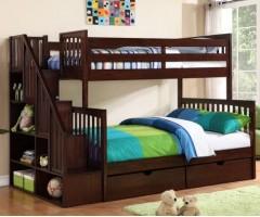 Кровать два яруса со стеллажом Флагман