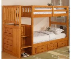Кровать двухэтажная с лестницей комодом Неаполь