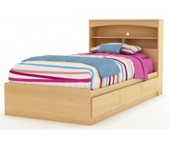 Кровать из натурального дерева Буккейс с полками