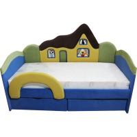 Дитяче синє ліжко з ортопедичним матрацом Будиночок 09K01
