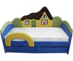 Детская синяя кроватка с ортопедическим матрасом Домик 09K01