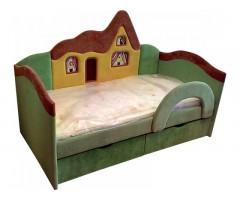 Детская зелёная кроватка с ортопедическим матрасом Домик 09K05