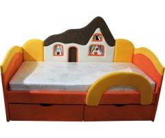 Дитяче оранжеве ліжко з ортопедичним матрацом Будиночок 09K04