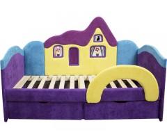 Детская фиолетовая кроватка с ортопедическим матрасом Домик 09K15