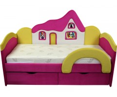 Дитяче рожеве ліжко Будиночок 09K03