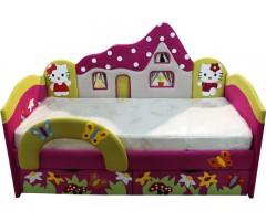Детская розовая кроватка с ортопедическим матрасом Домик 09K90-7