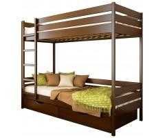 Двохповерхове ліжко з буку Дует масив