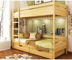 Двохповерхове ліжко з буку Дует щит