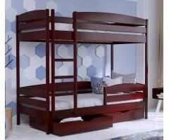 Двоярусне ліжко з буку Дует Плюс масив