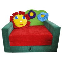 Большой детский раскладной зеленый диван-малютка Фантазия Лужок 01M013