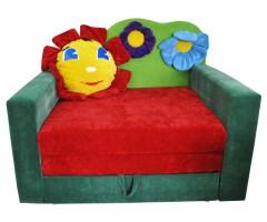 Великий дитячий розкладний зелений диван-малятко Фантазія Лужок 01M013