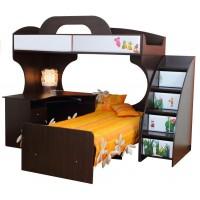 Двухъярусная кровать Пионер МДФ с письменным столом и тумбой цвет венге