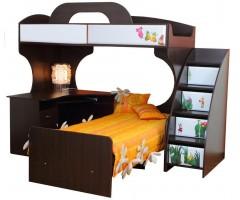 Двоярусне ліжко Піонер МДФ з письмовим столом і тумбою колір венге