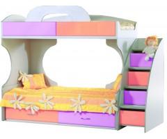 Кровать Пионер МДФ c ящиками и лестницей розовая